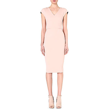 VICTORIA BECKHAM V-neck stretch-crepe dress (Nude