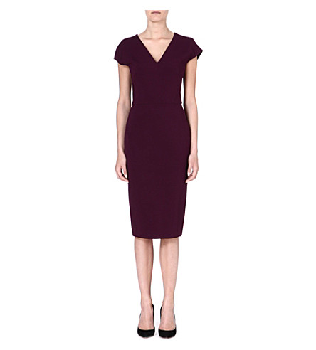 VICTORIA BECKHAM V-neck stretch-crepe dress (Aubergine