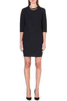VICTORIA BECKHAM Chain-neckline crepe dress