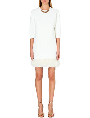 VICTORIA BECKHAM Feather-hem crepe dress