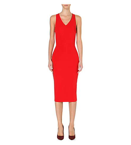 VICTORIA BECKHAM Stretch-crepe sleeveless dress (Red