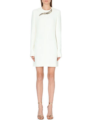 VICTORIA BECKHAM Embellished-detail crepe dress
