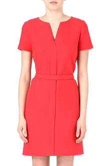 VICTORIA VICTORIA BECKHAM Wool-blend belted shift dress