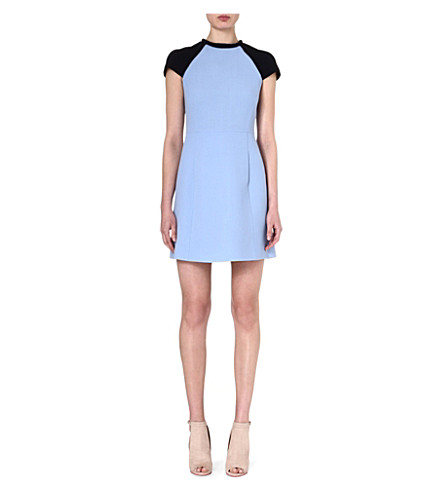 VICTORIA VICTORIA BECKHAM Raglan-sleeve wool dress (Pale blue/ navy