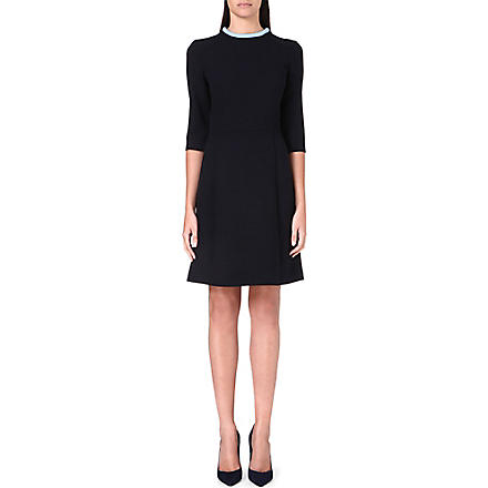 VICTORIA VICTORIA BECKHAM Contrast-neckline wool dress (Pale blue/ navy