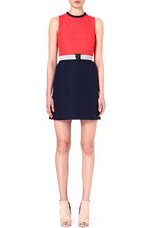 VICTORIA VICTORIA BECKHAM Colour-blocked crepe dress