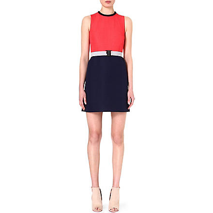 VICTORIA VICTORIA BECKHAM Colour-block crepe dress (Firecracker/ navy