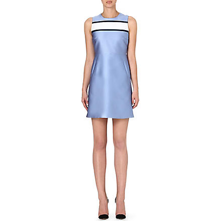VICTORIA VICTORIA BECKHAM Contrast shift dress (Blue/ optic white