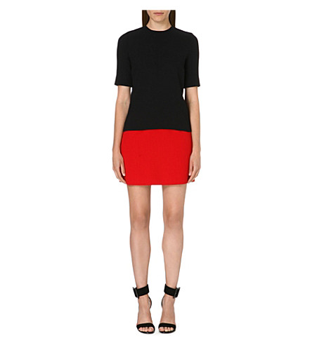 VICTORIA VICTORIA BECKHAM Two-tone wool dress (Navy/scarlet