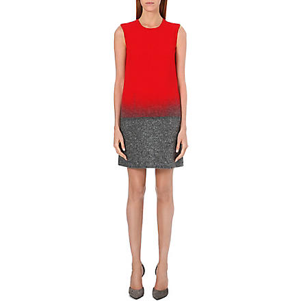 VICTORIA VICTORIA BECKHAM Ombré fade shift dress (Scarlet/grey