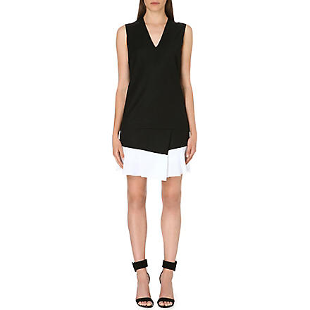 VICTORIA VICTORIA BECKHAM Contrast-hem v-neck dress (Black/off white