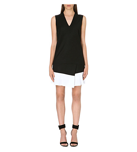 VICTORIA VICTORIA BECKHAM Contrast-hem v-neck dress (Black/off white