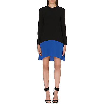VICTORIA VICTORIA BECKHAM Flared crepe dress (Navy/cerulean