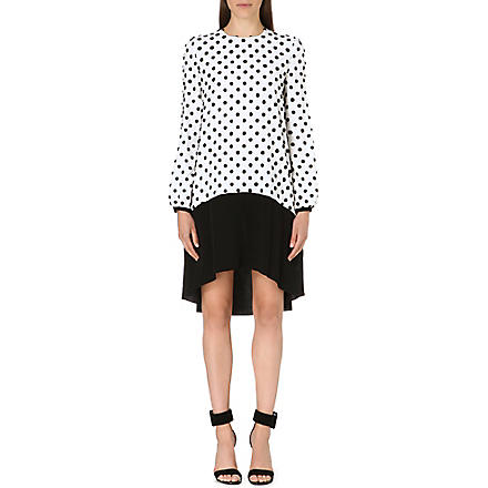 VICTORIA VICTORIA BECKHAM Spot-detail silk dress (Off white/black