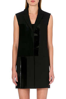 VICTORIA VICTORIA BECKHAM Leather-detail sleeveless jacket