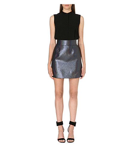 VICTORIA VICTORIA BECKHAM Crepe and metallic dress (Black/petrol