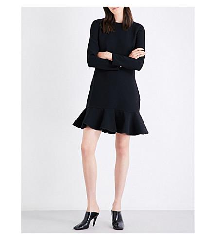 VICTORIA VICTORIA BECKHAM Flounced-hem woven dress (Black