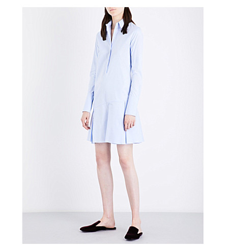 VICTORIA VICTORIA BECKHAM Relaxed-fit flared-hem cotton shirt dress (Oxford+blue