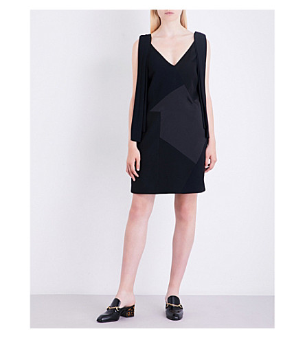 VICTORIA VICTORIA BECKHAM Patchwork-panel crepe dress (Black