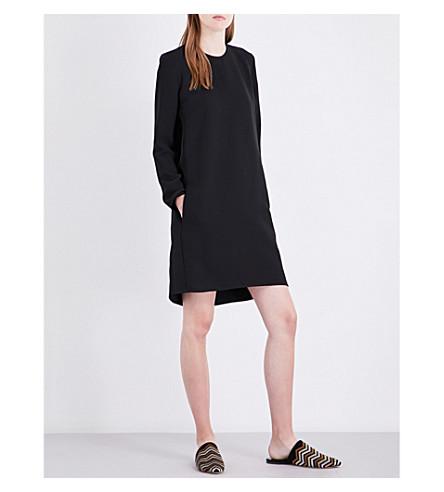VICTORIA VICTORIA BECKHAM Ruched keyhole-detail crepe dress (Black