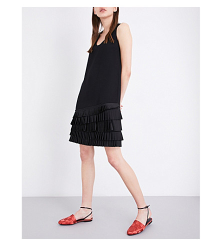 VICTORIA VICTORIA BECKHAM Pleated-hem crepe shift dress (Black