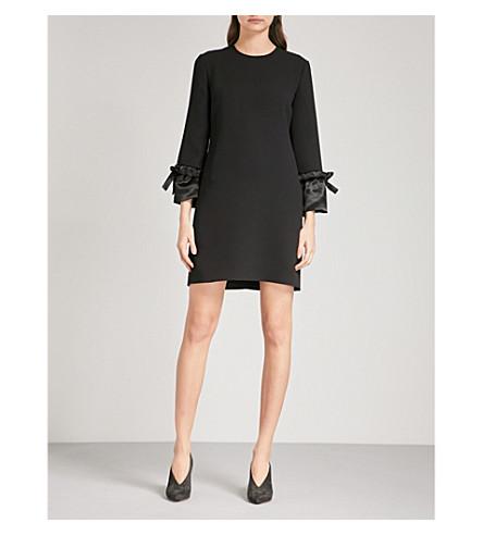 VICTORIA VICTORIA BECKHAM Satin-cuff crepe shift dress (Black