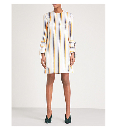 VICTORIA VICTORIA BECKHAM Zigzag-print woven-twill dress (Zig+zag+stripe