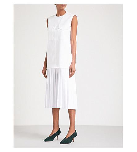 VICTORIA VICTORIA BECKHAM Pleated-skirt woven midi dress (Optic+white