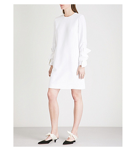 VICTORIA VICTORIA BECKHAM Ruched-sleeve crepe mini dress (Optic+white