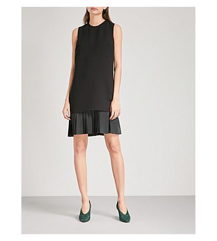 VICTORIA VICTORIA BECKHAM Pleated-hem crepe shift dress (Black