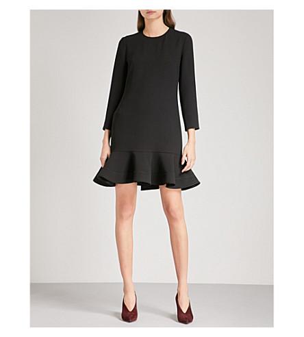VICTORIA VICTORIA BECKHAM Flounce-hem crepe mini dress (Black