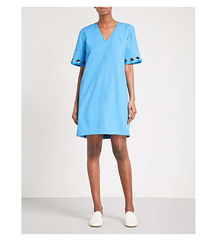 VICTORIA VICTORIA BECKHAM Eyelet-detail wool shift dress (Azure