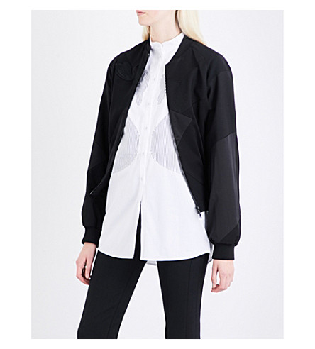 VICTORIA VICTORIA BECKHAM Swan-patch wool, silk and shell bomber jacket (Black