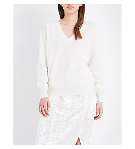 VICTORIA BECKHAM Double V-neck wool jumper (White