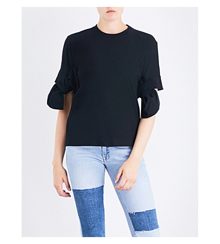 VICTORIA VICTORIA BECKHAM Bow-detail cotton-jersey T-shirt (Black