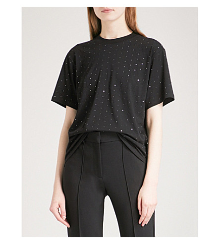 VICTORIA VICTORIA BECKHAM Crystal-embellished cotton-jersey T-shirt (Black