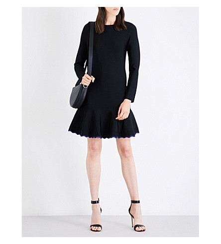 VICTORIA VICTORIA BECKHAM Flared-hem woven dress (Black/navy