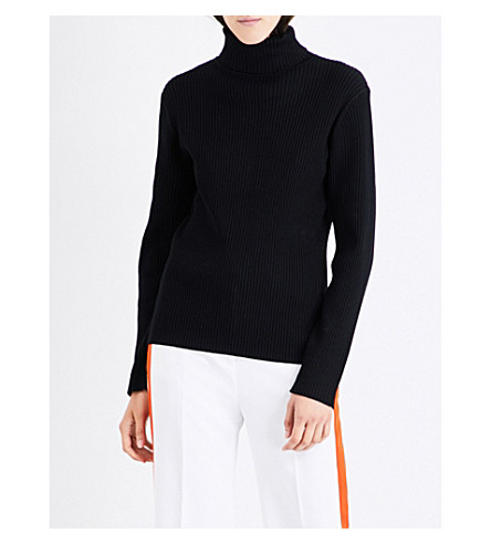 VICTORIA VICTORIA BECKHAM Turtleneck buttoned-back wool-blend jumper (Black