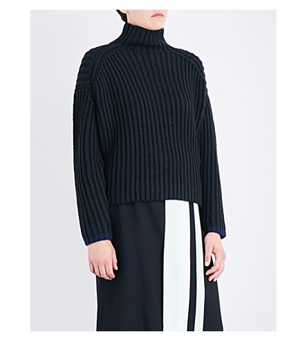 VICTORIA VICTORIA BECKHAM Turtleneck oversized knitted jumper (Black/navy