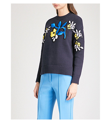 VICTORIA VICTORIA BECKHAM Floral-embroidered cotton-blend jumper (Navy