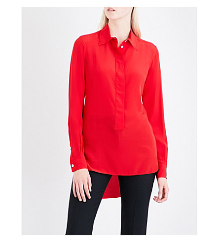 VICTORIA BECKHAM Logo-embroidered relaxed-fit silk-crepe shirt (Red