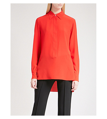 VICTORIA BECKHAM Front Placket silk-crepe shirt (Red+candy