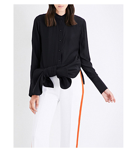 VICTORIA VICTORIA BECKHAM Tuxedo bow-detail silk shirt (Black