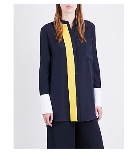 VICTORIA VICTORIA BECKHAM Contrast stripe silk shirt (Navy/+lemon+zest/white