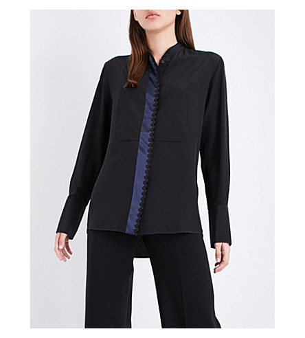 VICTORIA VICTORIA BECKHAM Bib-front silk-crepe shirt (Black