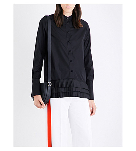 VICTORIA VICTORIA BECKHAM Pleated-hem cotton and satin shirt (Black