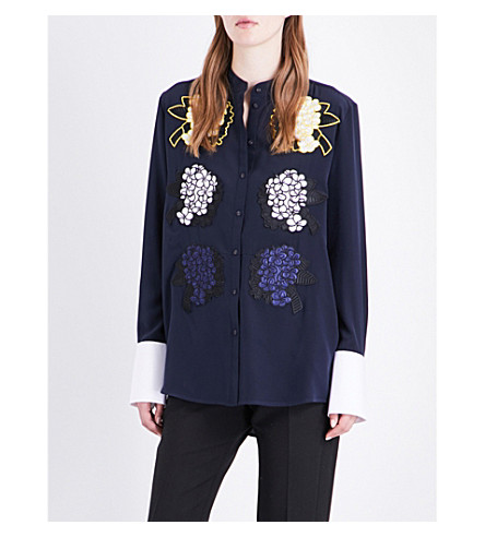 VICTORIA VICTORIA BECKHAM Floral-embroidered silk shirt (Navy/multi