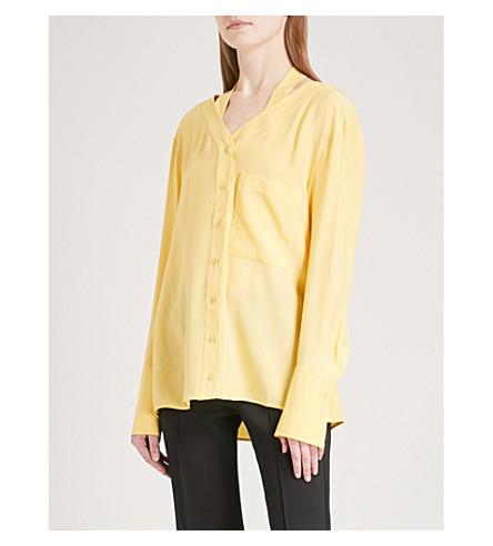 VICTORIA VICTORIA BECKHAM Self-tie silk-satin shirt (Lemon