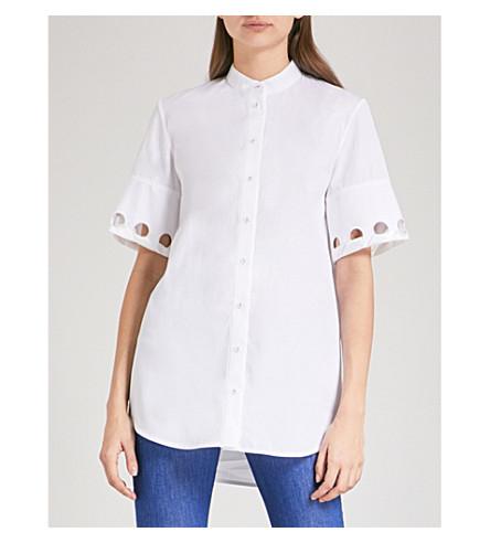 VICTORIA VICTORIA BECKHAM Eyelet-detail cotton-poplin shirt (White