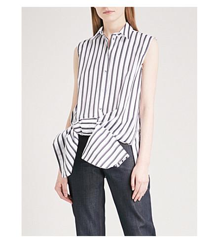 VICTORIA VICTORIA BECKHAM Ruched-bow striped sleeveless cotton-poplin shirt (White/black